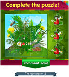 Complete the puzzle insects 2. Visual game for children and adults. Task complete the puzzle Stock Photography