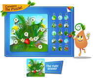 Complete the puzzle insects 2. Visual game for children and adults. Task complete the puzzle Stock Image