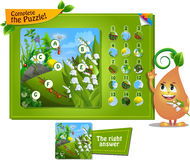 Complete the puzzle insects 12. Visual game for children and adults. Task complete the puzzle Royalty Free Stock Image