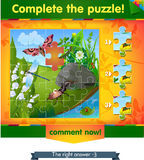 Complete the puzzle insects 4. Visual game for children and adults. Task complete the puzzle Royalty Free Stock Photos