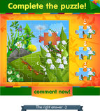 Complete the puzzle insects 11. Visual game for children and adults. Task complete the puzzle Stock Image
