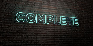COMPLETE -Realistic Neon Sign on Brick Wall background - 3D rendered royalty free stock image Stock Image