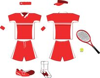 Complete red Tennis Equipment Royalty Free Stock Photography