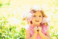 Complete relax. face and skincare. allergy to flowers. Summer girl fashion. Happy childhood. Springtime. weather royalty free stock image