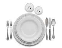 Complete restaurant set table Stock Photography