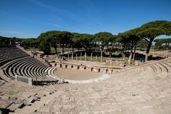 Almost complete Roman theater in Ostia antica. Drama place in an stock image