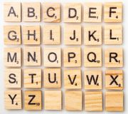 Complete Scrabble letter English alphabet uppercase. On white background royalty free stock photography