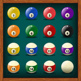 Complete set of balls for pool Stock Images
