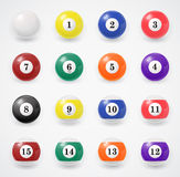 Complete set of billiard balls on a white Stock Photos