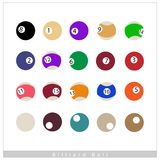 Complete Set of Billiard Balls on White Background. Sports and Fitness symbol, Illustration Collection of Billiard Balls Isolated on A White Background Stock Illustration