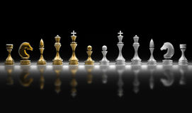 Complete set of chess pieces. Chess pieces set a complete set of chess pieces. 3d render Royalty Free Stock Photo