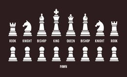 Complete set of chess pieces. Complete set of all sixteen chess pieces arranged in two rows with the pawns below  white silhouette vector icons on black with Royalty Free Stock Photos