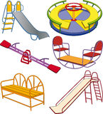 The complete set a children's swing. Set of a swing for a children's playground vector illustration