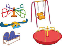 The complete set a children's swing. Set of a carousel for a playground Stock Photos