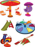 The complete set a children's swing. Cartoon. Set of a children's swing and roundabouts Royalty Free Stock Photos