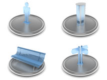 Complete set of city life icons. Complete set of icons on an city life theme with the image of the equipment and tools in blue and silver color Royalty Free Stock Images