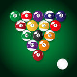 Complete set of color billiards balls Royalty Free Stock Photo
