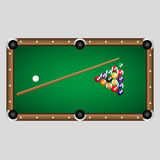Complete set of color billiards balls and table eps10 Stock Photo