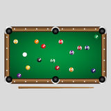Complete set of color billiards balls on the table Stock Images