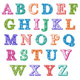 Complete set colorful patterned alphabet letters Stock Photos