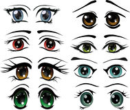 The complete set of the drawn eyes vector illustration