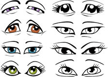 The complete set of the drawn eyes Stock Photo
