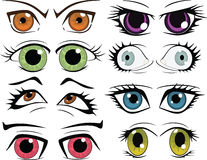 The complete set of the drawn eyes Royalty Free Stock Image