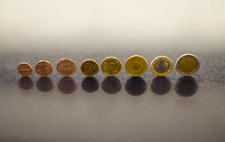 Complete set of euro coins Royalty Free Stock Images