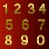 A complete set of gold 3D numbers cut into straight strips. The edges of the numbers are rounded. Font is by a dark red. Background. Vector illustration stock illustration