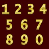 A complete set of gold  3D numbers with a grid relief. The edges of the numbers are not rounded. Font is isolated by a dark red ba. Ckground.  Vector Stock Image