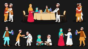 Complete set of happy muslim characters on the festival occasion. stock illustration