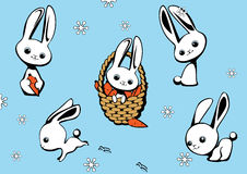 The complete set of hares. On a blue background Stock Photo