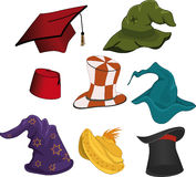 The complete set of hats. Multi-coloured set of caps for wizards Royalty Free Stock Image