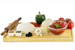 Complete set of ingredients for home made pizza Royalty Free Stock Images