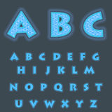 A complete set of Latin cyan  letters with a lace mesh inside. Font is isolated by a dark background. Letters are made in 3D shape Royalty Free Stock Images