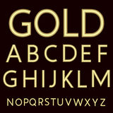 A complete set of Latin letters made from gold wire with a matte surface.   Royalty Free Stock Image