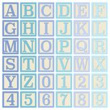 Blue Alphabet Blocks. Complete set of 26 letter blocks A through Z and 10 number blocks 0 through 9 Royalty Free Stock Photos
