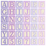 Pink and Purple Alphabet Blocks. Complete set of 26 letter blocks A through Z and 10 number blocks 0 through 9 stock illustration
