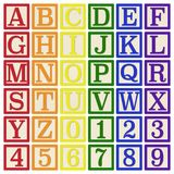 Rainbow Alphabet Blocks. Complete set of 26 letter blocks A through Z and 10 number blocks 0 through 9 stock illustration