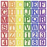 Rainbow Alphabet Blocks. Complete set of 26 letter blocks A through Z and 10 number blocks 0 through 9 stock illustration