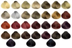 Complete set of locks of all the most used hair color samples, rounded shape, isolated on white background, clipping path included.  stock images