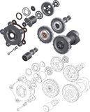 The complete set mechanisms and gears Stock Image