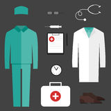 Complete set of medical clothes Stock Photo