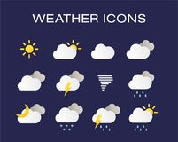 Complete set of modern realistic weather icons. Modern weather icons set. Flat vector symbols on dark background. EPS 10 royalty free illustration