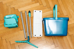 Complete set of mop with bucket as seen from above Stock Images