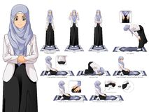 Complete Set of Muslim Woman Prayer Position Guide Step by Step. Complete Set of Muslim Woman Prayer, Standing, Bowing, Sitting, and Prostration Position Guide Stock Images