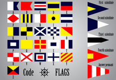 Complete set of Nautical flags for letters vector illustration
