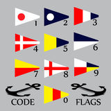 Complete set of Nautical flags for numbers.  Stock Photography