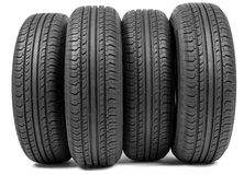 Complete set of new tyres for car Royalty Free Stock Photography
