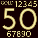 A complete set of numbers made from gold wire with a matte surface. Font is  by a velvety dark crimson background. Numbers. Are made in 3D shapes with smooth Stock Photo